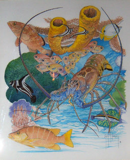Lobster Reef Watercolor 18x15 Watercolor - Guy Harvey