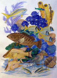 Living Reef 2002 45x36 Watercolor - Guy Harvey