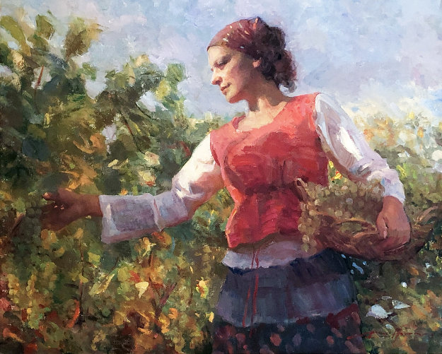 Vineyard Harvest 2009 33x37 Original Painting by Don Hatfield