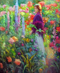 Garden Stroll 46x52 Original Painting - Don Hatfield