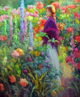 Garden Stroll 46x52 Original Painting - Don Hatfield