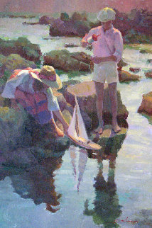 Launching the Boat 30x20 Original Painting by Don Hatfield
