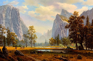 Yosemite Landscape Painting 33x46 Super Huge Original Painting - Ronnie Hedge
