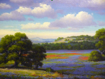 Bluebonnets of Texas 1989 33x28 Original Painting by Ronnie Hedge
