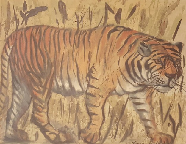 Untitled (Tiger) 1973 16x20 Original Painting by Ronnie Hedge
