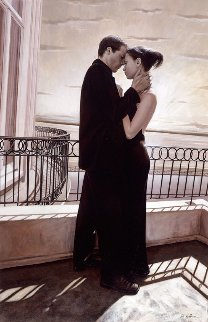 Tenderness on Balcony 2000 44x29 Original Painting - Rob Hefferan