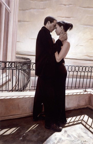 Tenderness on Balcony 2000 44x29 Original Painting by Rob Hefferan