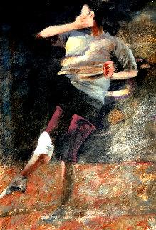 Figure Moving - Dark Studio 2002 48x33 Huge Original Painting - Robert Heindel