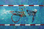 Swimmer 34 x 52 Olympic commission  for 100 year anniversary Original Painting - Robert Heindel