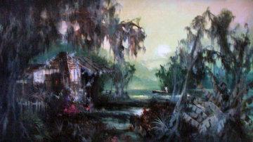 Swamp Idyl 60's 31x55 Super Huge Original Painting - Colette Pope Heldner