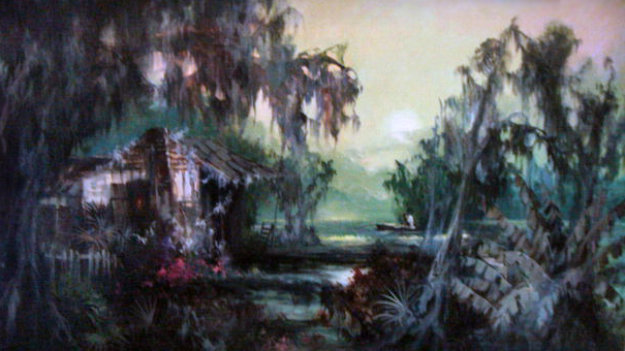 Swamp Idyl 60's 31x55 Original Painting by Colette Pope Heldner