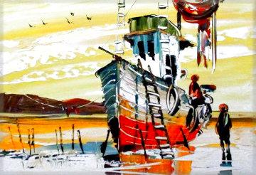 Untitled Seascape 1970 27x34 Original Painting - Paul Blaine Henrie