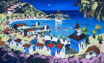 Morning Arrival in Avalon 1978 30x48 Huge  Original Painting - Paul Blaine Henrie