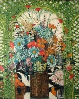 Untitled Bouquet 26x21 Original Painting - Michel Henry