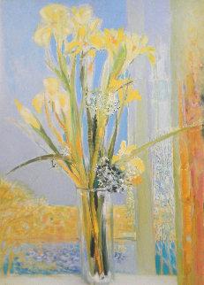 Iris Blanc 34x26 Original Painting - Michel Henry