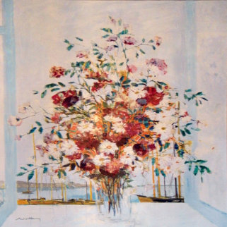 Untitled Floral Bouquet 1985 61x48 Huge Original Painting - Michel Henry