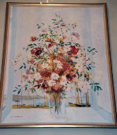 Untitled Floral Bouquet 1985 61x48 Super Huge Original Painting by Michel Henry - 1