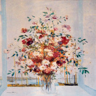 Untitled Floral Bouquet 1985 61x48 Super Huge Original Painting by Michel Henry - 2
