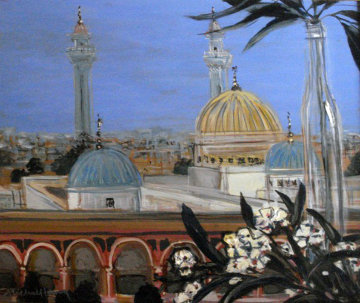Mausoleum and White Oleander 2001 24x28 Original Painting by Michel Henry