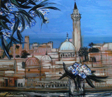 Monastir Vue and White Oleander Bouquet 2001 24x28 Original Painting by Michel Henry