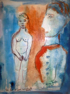 For Eve At Dawn Somewhere Watercolor  1964 21x17 Watercolor by Henry Miller