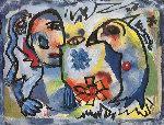 Man And Bird Watercolor 1963 18x21 Watercolor - Henry Miller