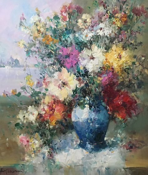 Italian Bouquet 31x27 Original Painting by Ingfried Henze-Morro