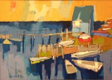 Marina 28x38 Original Painting - Herb Kornfeld