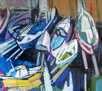 Boat 2002 33x29 Original Painting - Herb Kornfeld