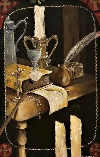 Ausencias 2013 36x23 Original Painting - Roberto Hernaiz