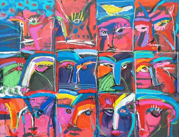 Faces 1997 42x54 Original Painting by Johanan Herson