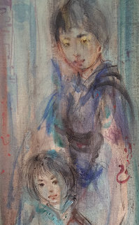 Untitled Asian Family 30x14 Original Painting by Edna Hibel
