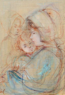 Study For Mother And Children 14x11 Original Painting - Edna Hibel