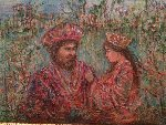 Solomon And Queen 1975 9x12 Original Painting - Edna Hibel