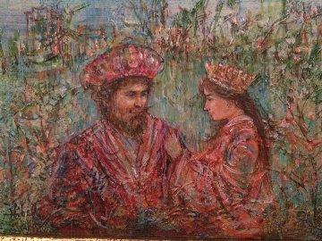 Solomon And Queen 1975 9x12 Original Painting - Edna Hibel