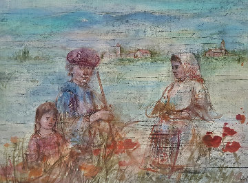 French Farmers in the Field 1968 28x36 Original Painting - Edna Hibel