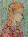 Untitled (Blond Girl) 12x10 Original Painting - Edna Hibel