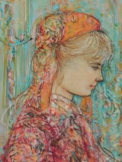 Untitled (Blond Girl) 12x10 Original Painting by Edna Hibel