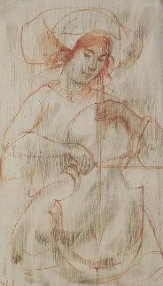 Untitled (Cello Player) Watercolor 17x12 Watercolor - Edna Hibel