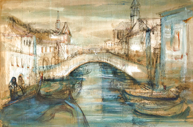 Chiorggia Near Venice 28x40 Original Painting by Edna Hibel