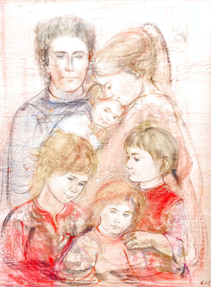 Family Unique 39x27 Works on Paper (not prints) by Edna Hibel