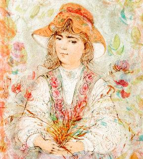 Heidi Embellished on canvas w gold leaf Limited Edition Print - Edna Hibel