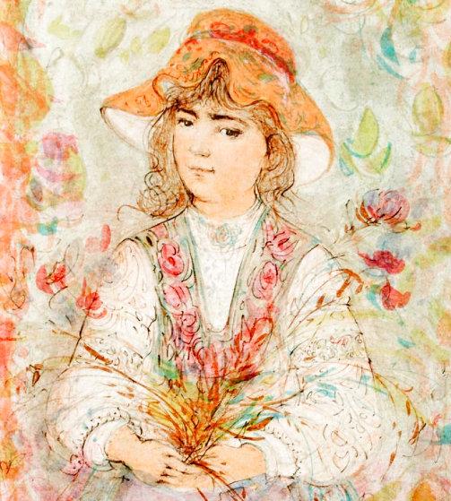 Heidi Embellished on canvas w gold leaf Limited Edition Print by Edna Hibel