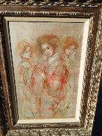 Three Japanese Ladies 1970 26x19 Original Painting by Edna Hibel - 1
