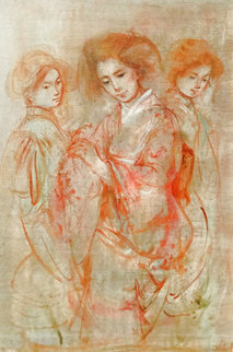 Three Japanese Ladies 1970 26x19 Original Painting - Edna Hibel