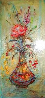 Rose And Berries 1950 25x14 Original Painting - Edna Hibel