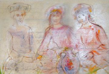 Three Muses & a Jug 1972 20x28 Original Painting - Edna Hibel