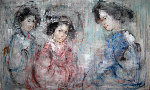 Japanese Girls 30x48 Original Painting - Edna Hibel