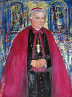 Most Reverend Bishop E. Mulvee 1996 40x30 Original Painting - Edna Hibel