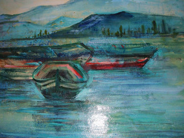 Dories at Pier Alaska 16x20 Original Painting - Edna Hibel